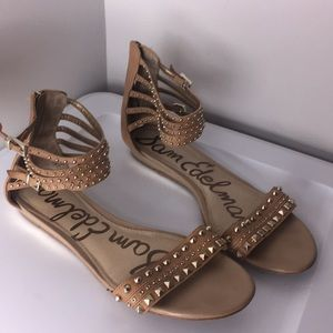 Sam Edelman tan embellish sandals ankle strap 8.5
